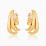Brinco ear hook com zircônia banhado a ouro 18k