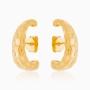 Brinco ear hook texturizado banhado a ouro 18k