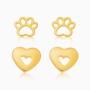 Kit de brincos coração e patinha banhado a ouro 18k