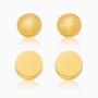 Kit de brincos de bolinha banhado a ouro 18k