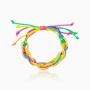 Pulseira de elos com fio acetinado colorida neon