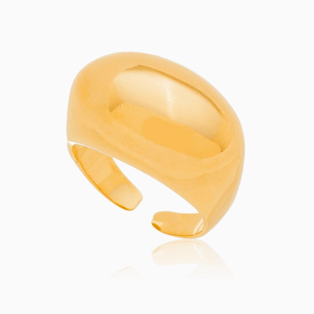 Anel abaulado ajustável banhado a ouro 18k