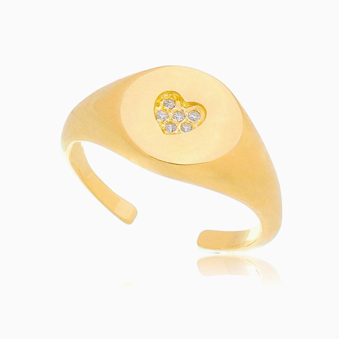 Anel ajustável com coração cravejado banhado a ouro 18k