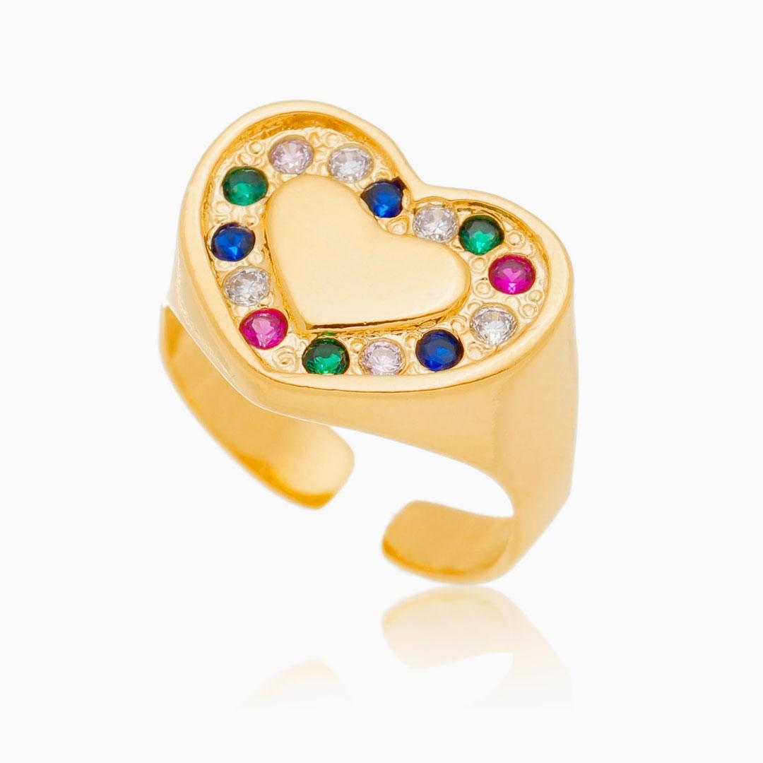 Anel ajustável de coração cravejado com zircônia colorida banhado a ouro 18k
