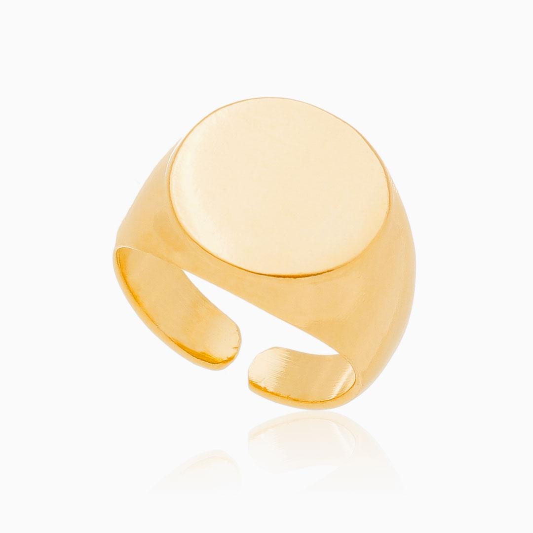 Anel ajustável de placa redonda lisa banhado a ouro 18k