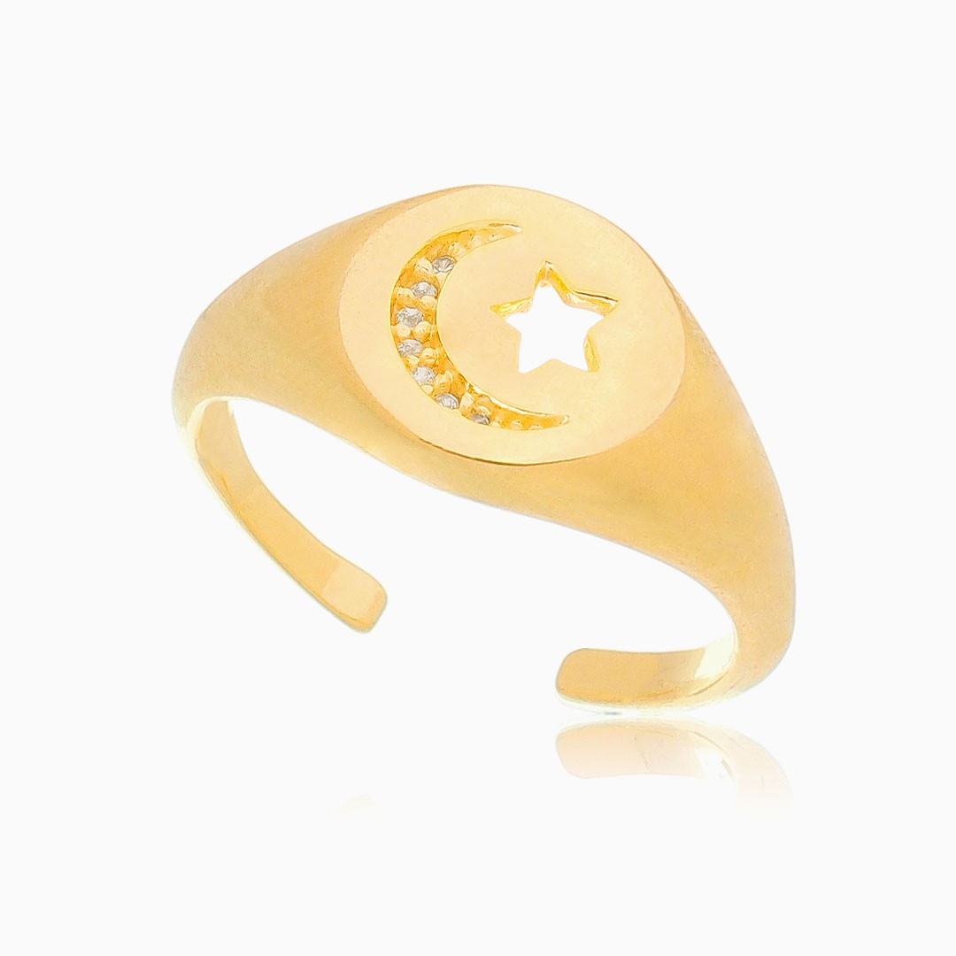 Anel ajustável lua e estrela cravejado com zircônia banhado a ouro 18k