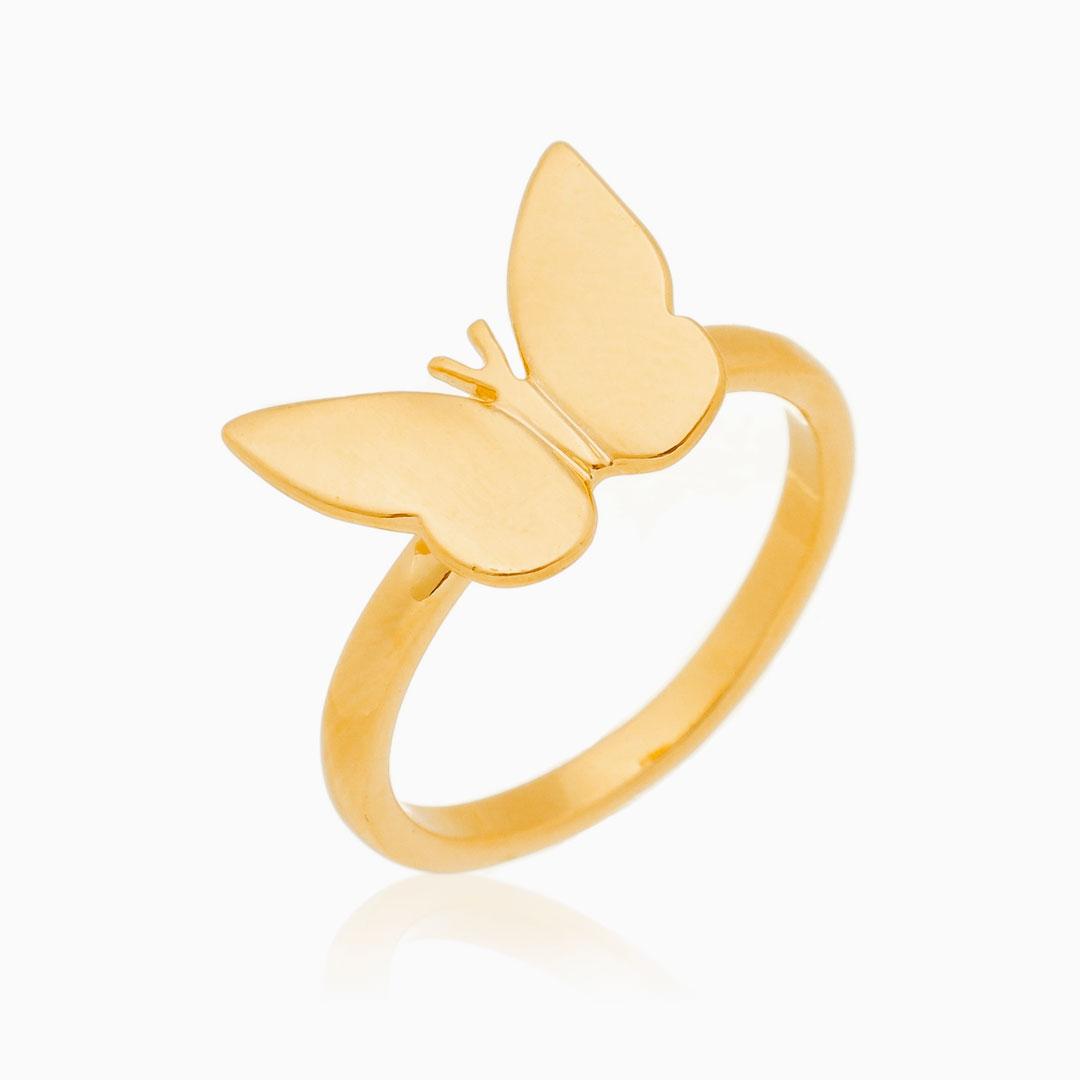 Anel borboleta banhado a ouro 18k