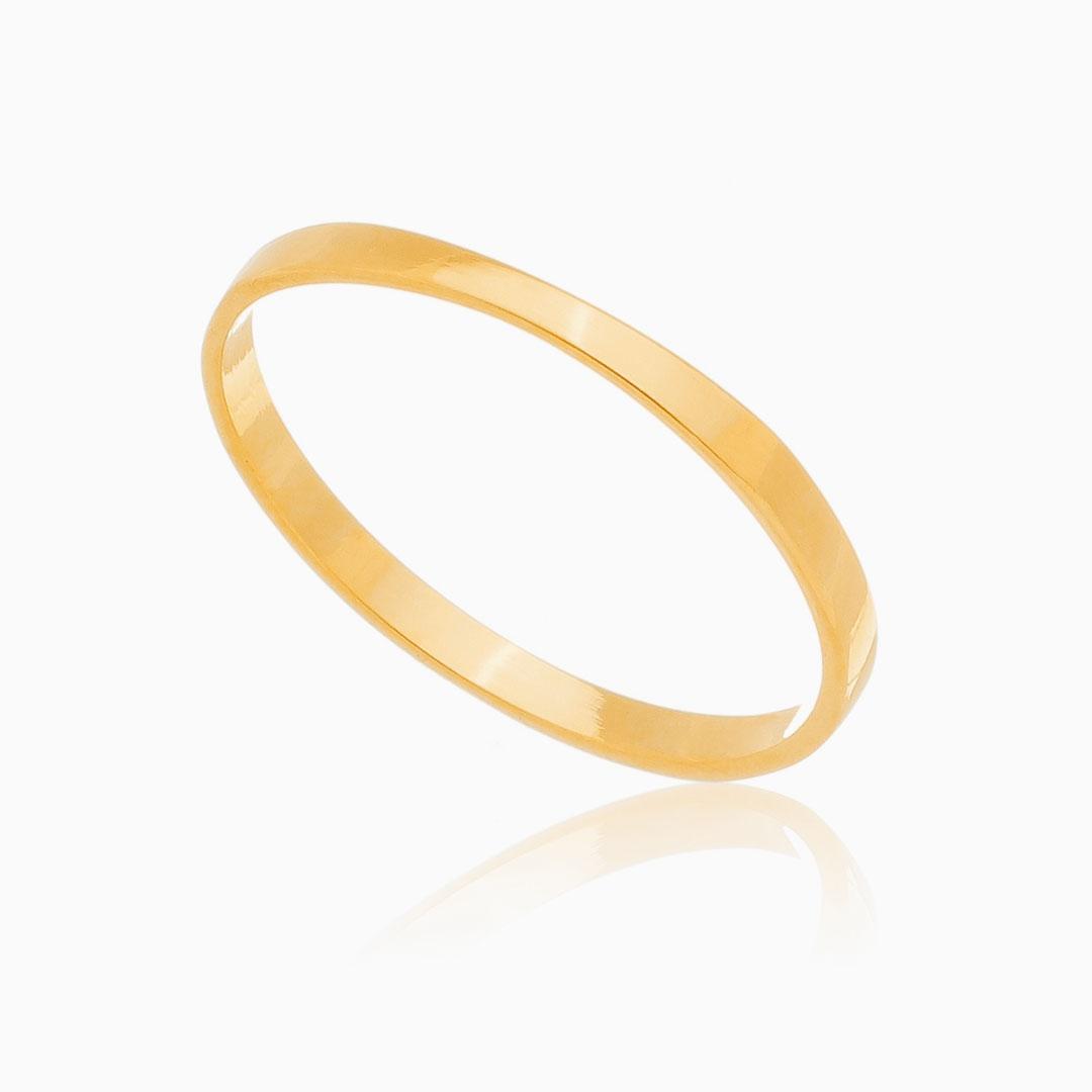 Anel Catarina liso banhado a ouro 18k