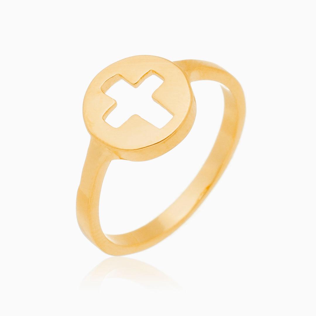 Anel cruz vazada banhado a ouro 18k