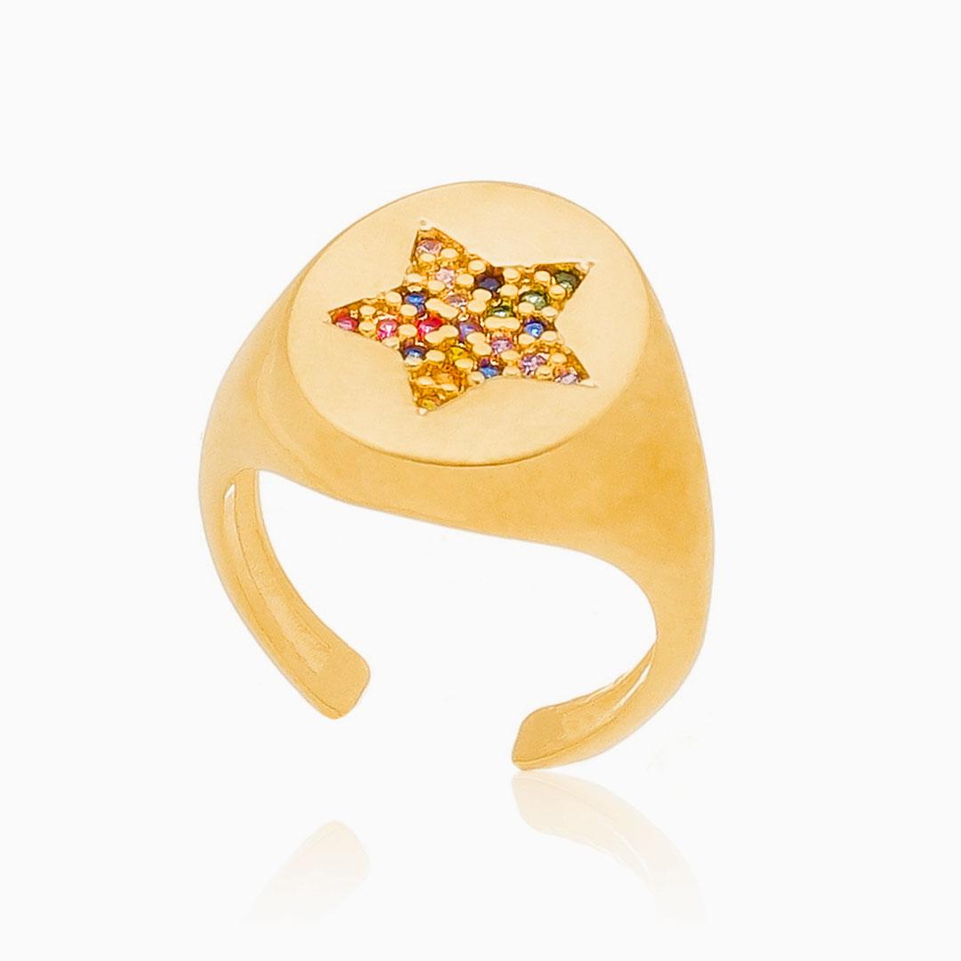 Anel de dedinho ajustável com estrela colorido banhado a ouro 18k