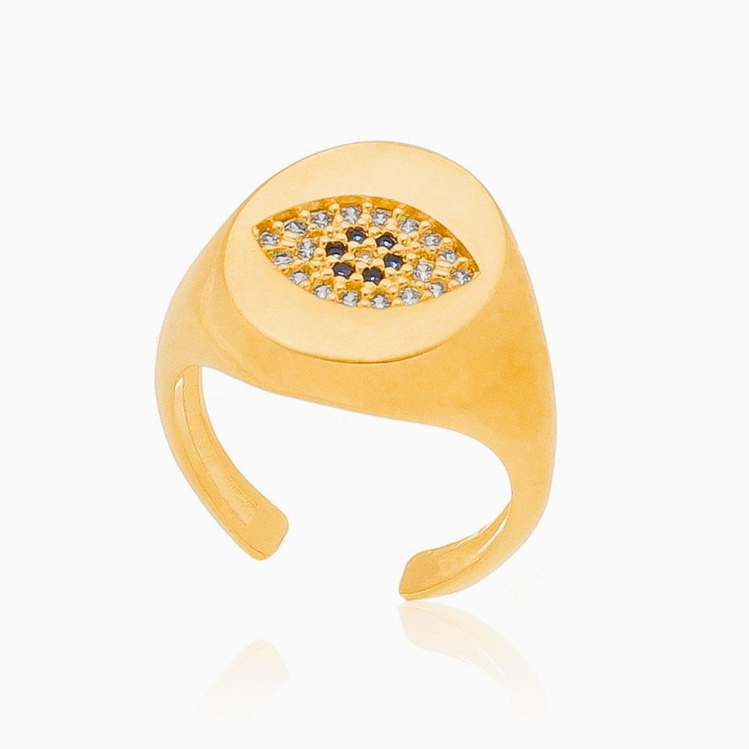 Anel de dedinho ajustável com olho grego cravejado banhado a ouro 18k