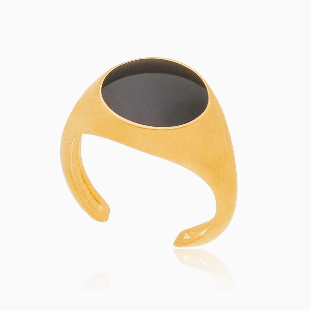 Anel de dedinho ajustável preto banhado a ouro 18k