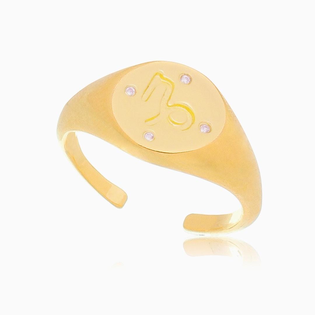 Anel de dedinho ajustável signos banhado a ouro 18k
