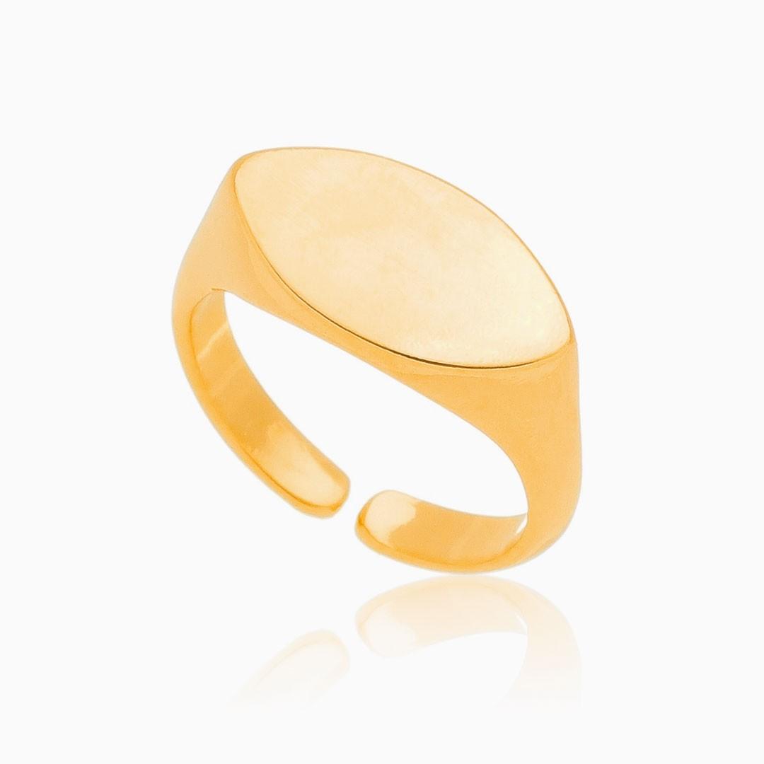 Anel de dedinho plaquinha banhado ouro 18k