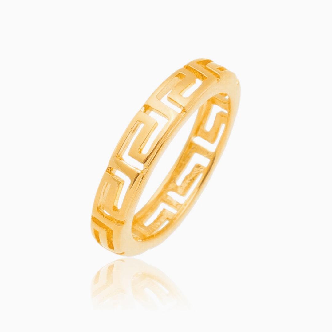 Anel de labirinto vazado banhado a ouro 18k