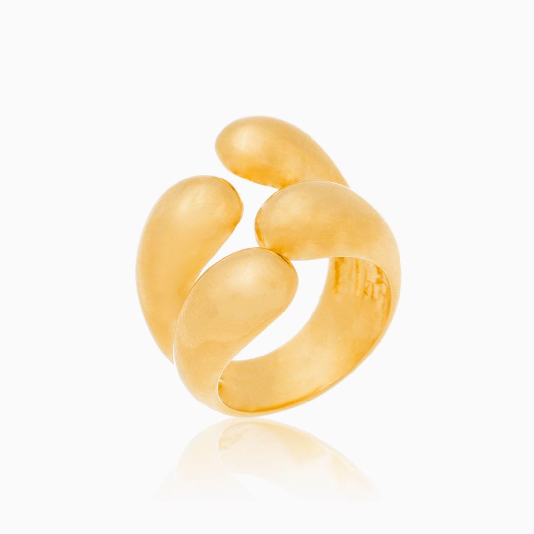 Anel duplo abaulado banhado a ouro 18k