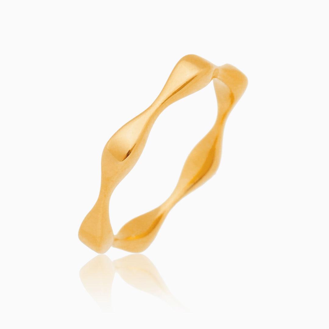 Anel hexagonal banhado a ouro 18k