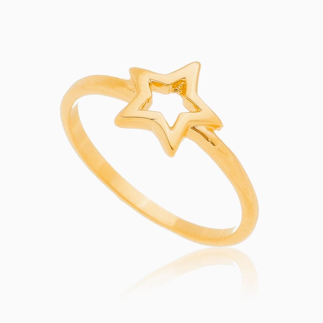 Anel Júlia com estrela banhado a ouro 18k