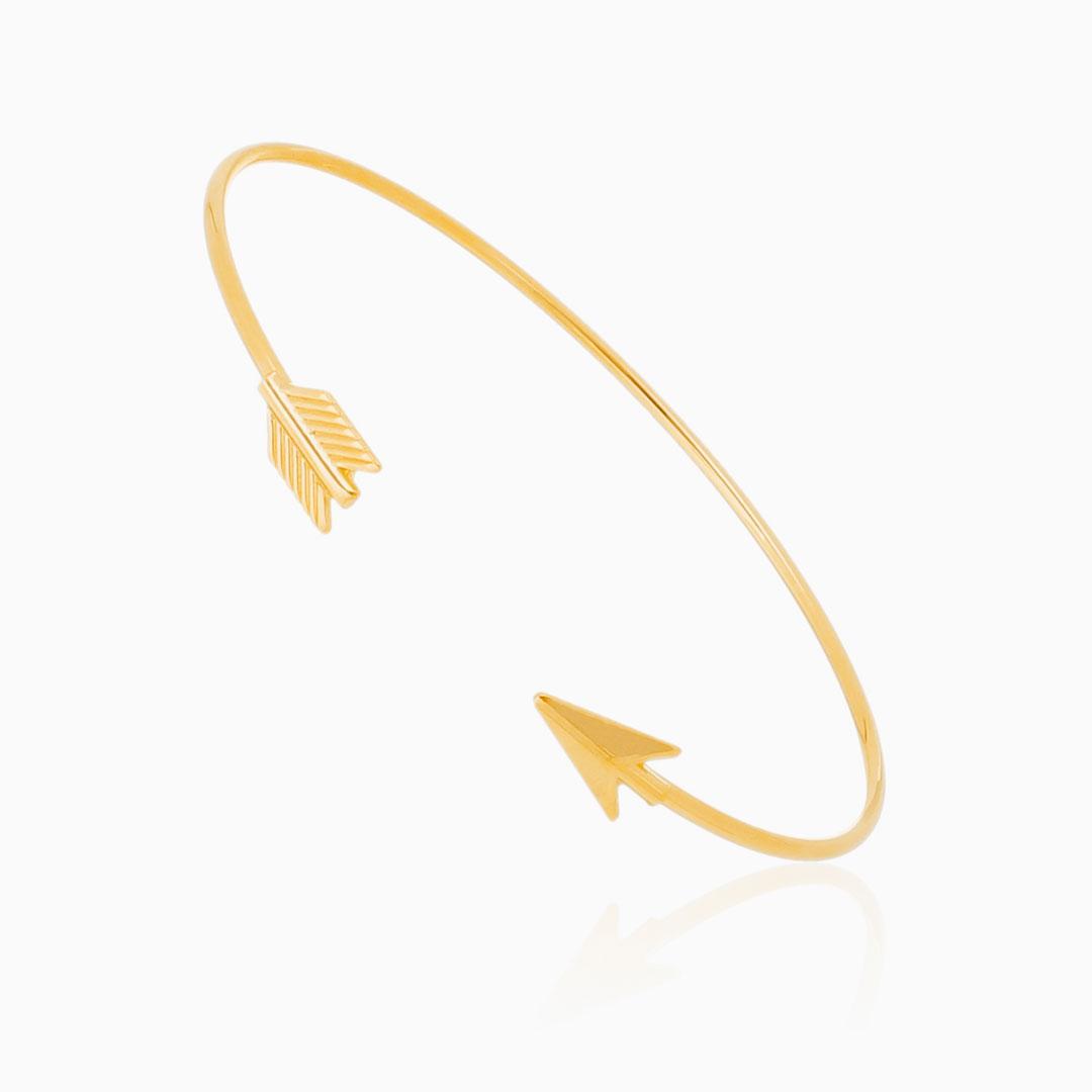 Bracelete ajustável flecha banhado a ouro 18k