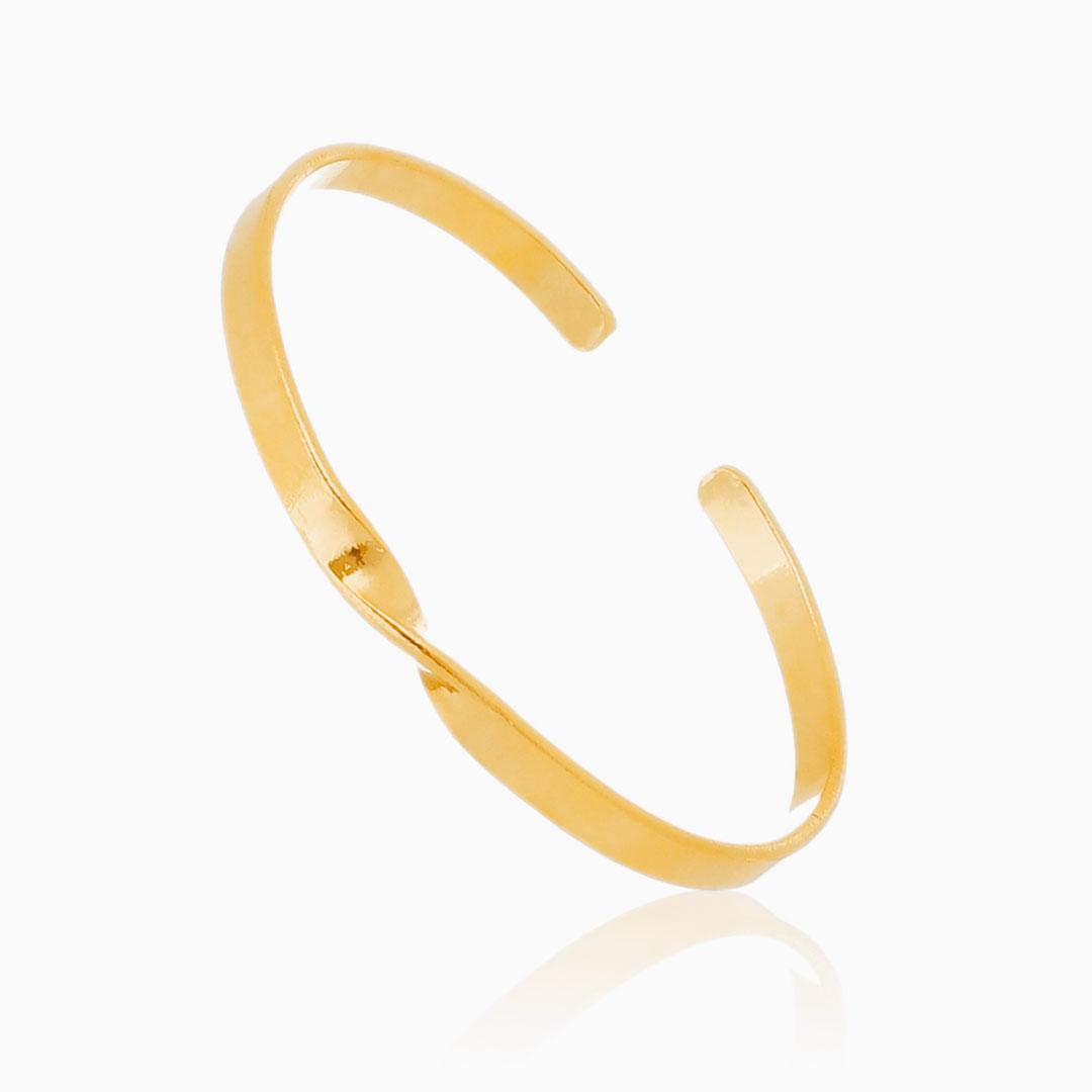 Bracelete ajustável torcido banhado a ouro 18k