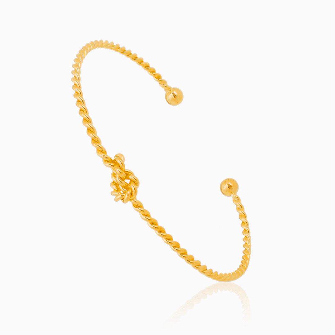 Bracelete ajustável trançado com nozinho banhado a ouro 18k
