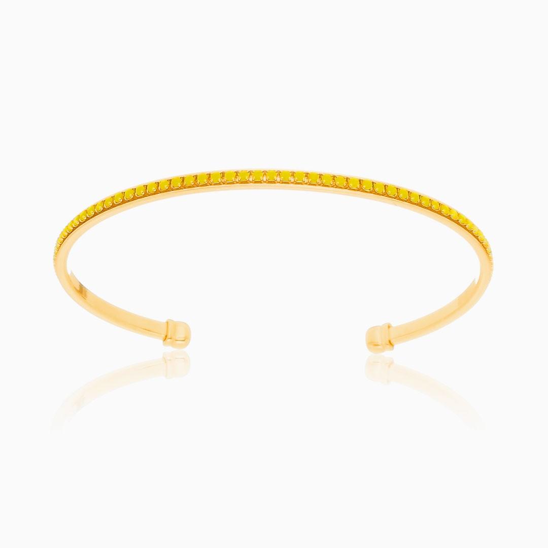 Bracelete Alícia cravejado com zircônia amarela banhado a ouro 18k