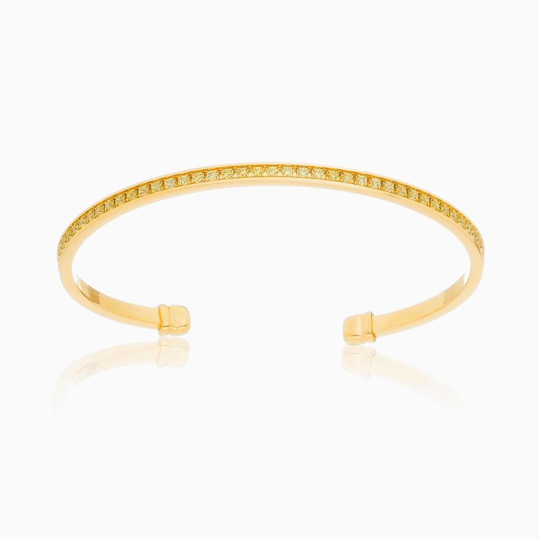 Bracelete Alícia cravejado com zircônia cristal banhado a ouro 18k