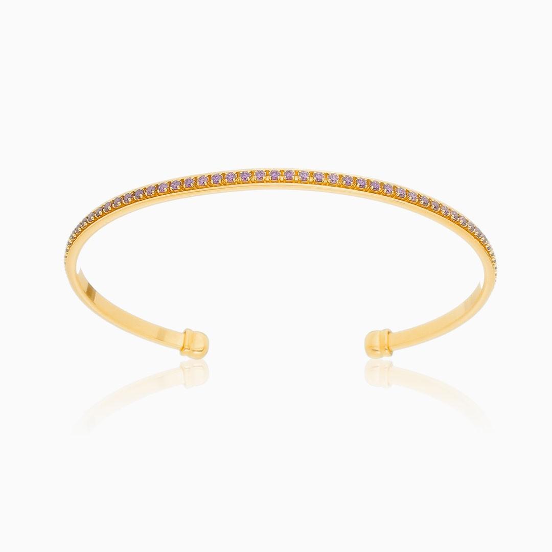 Bracelete Alícia cravejado com zircônia lilás banhado a ouro 18k