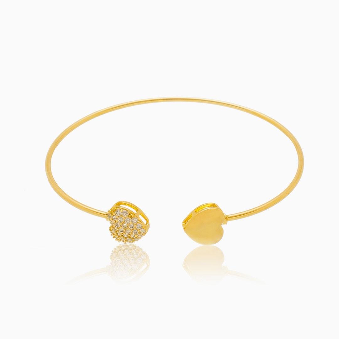 Bracelete corações banhado a ouro 18k