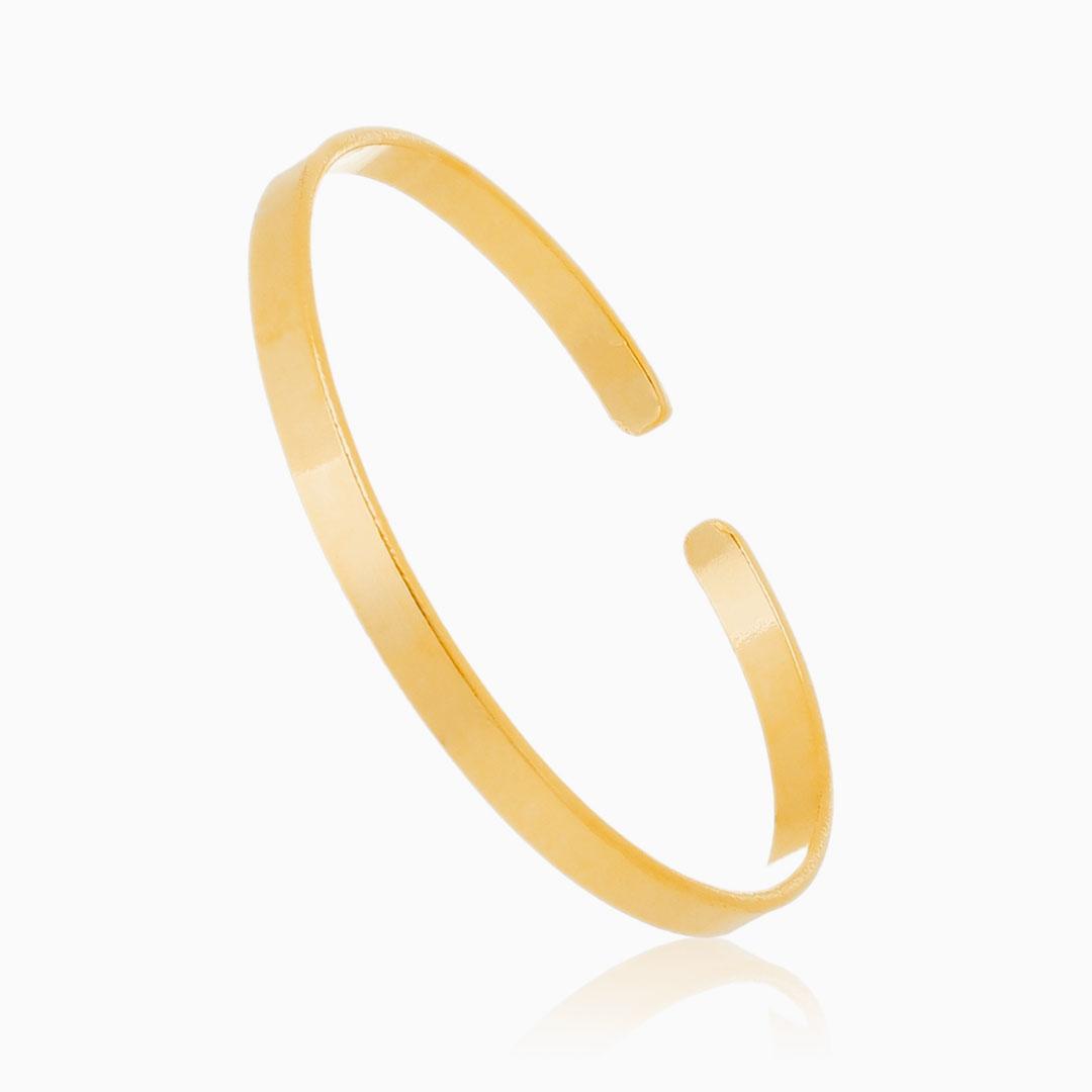 Bracelete liso ajustável banhado a ouro 18k