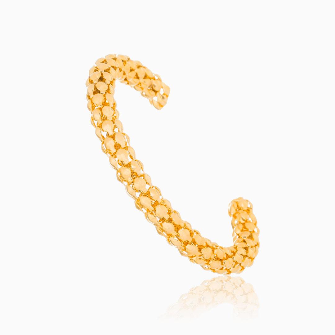 Bracelete trabalhado ajustável dourado