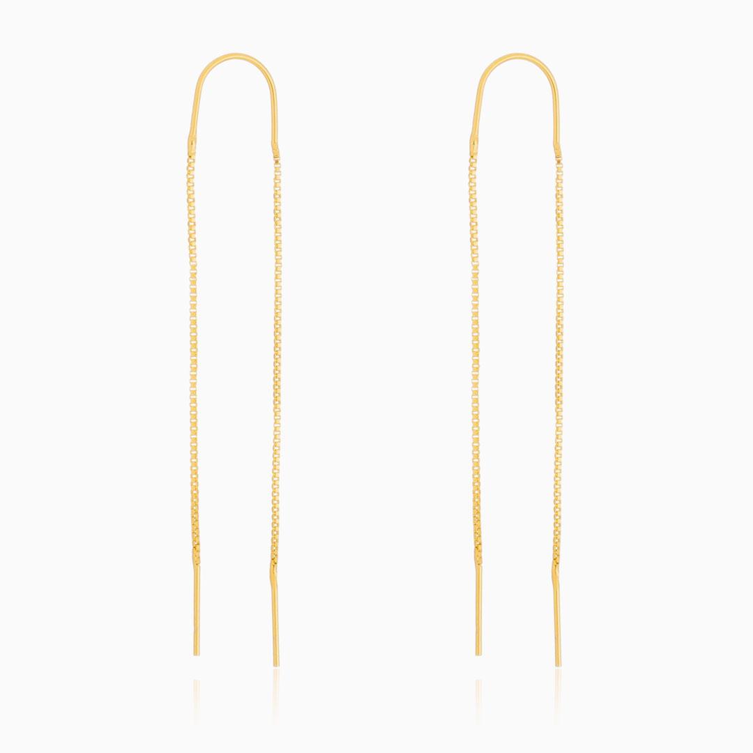 Brinco Ayla pêndulo fio de corrente banhado a ouro 18k