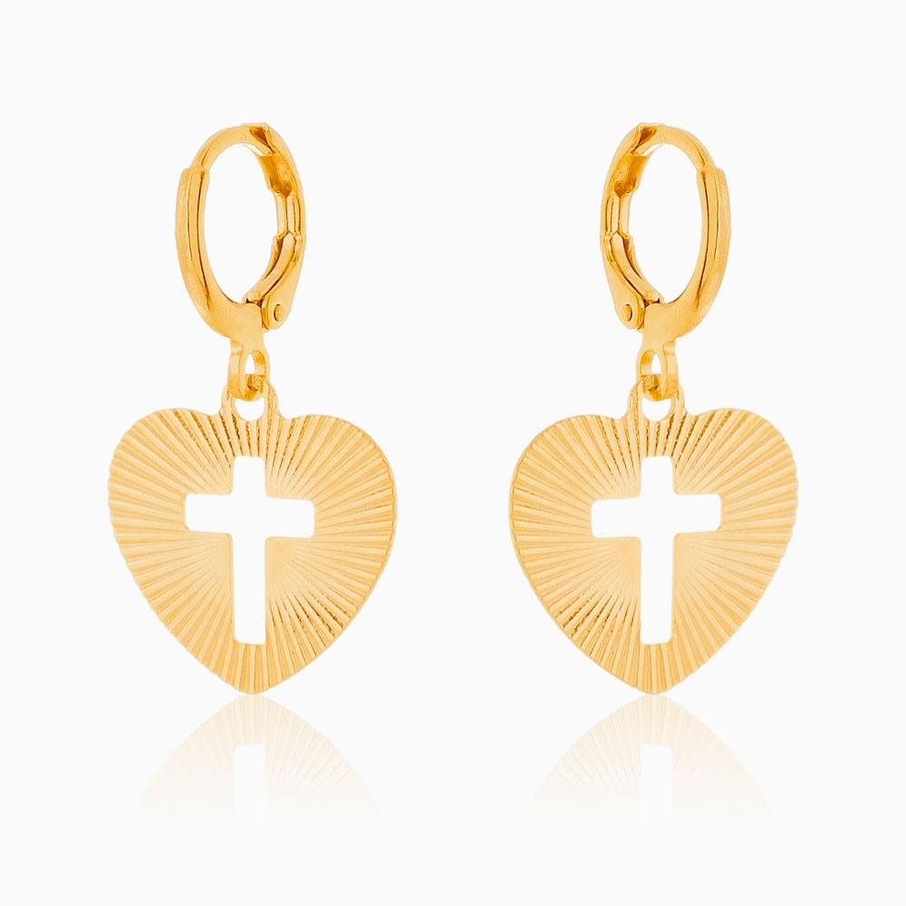 Brinco de argola coração e cruz banhado a ouro 18k