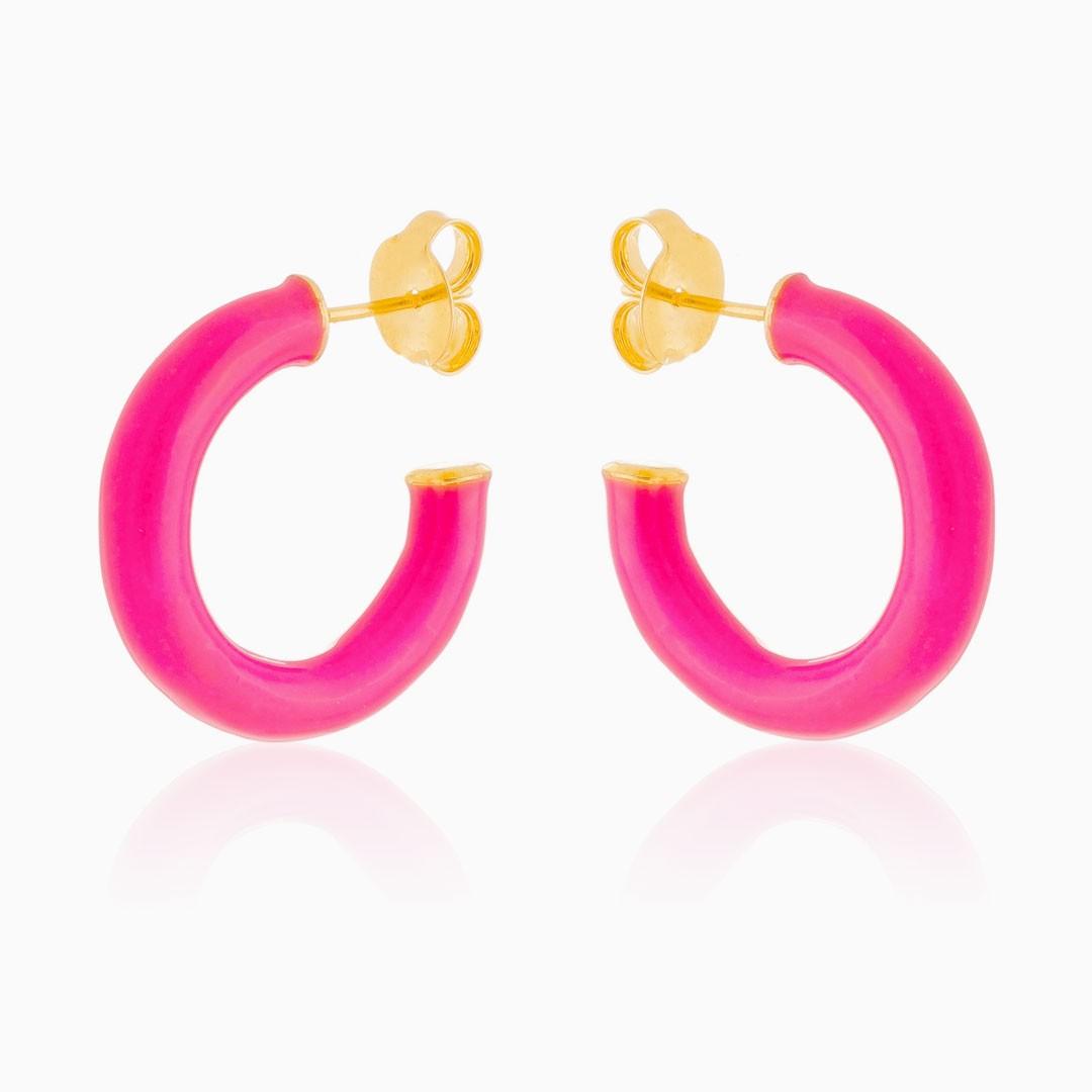 Brinco de argola esmaltada rosa banhada a ouro 18k