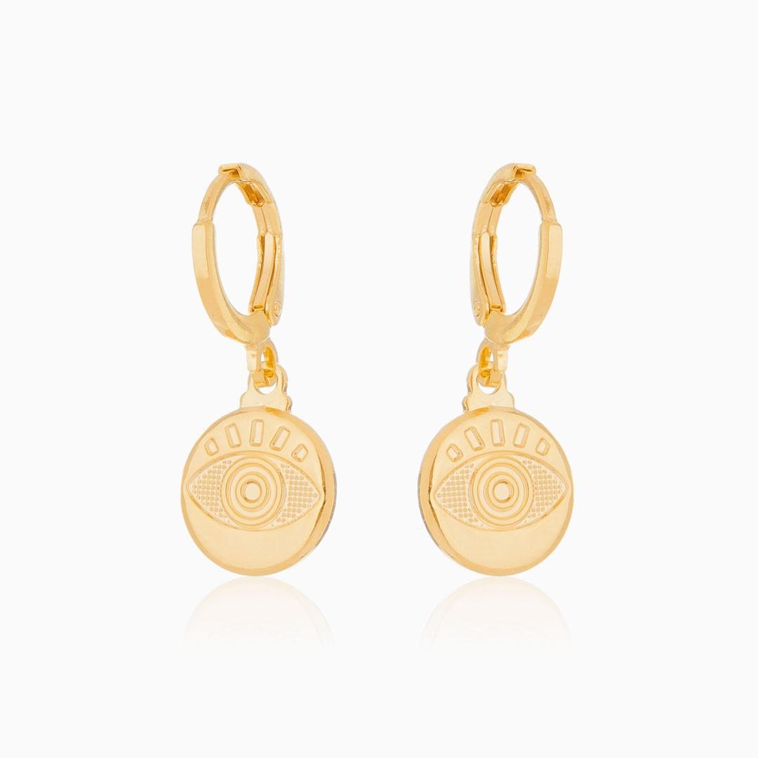 Brinco de argola medalha com olho grego banhado a ouro 18k