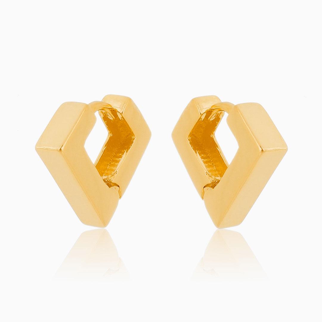 Brinco de argola triangular banhado a ouro 18k