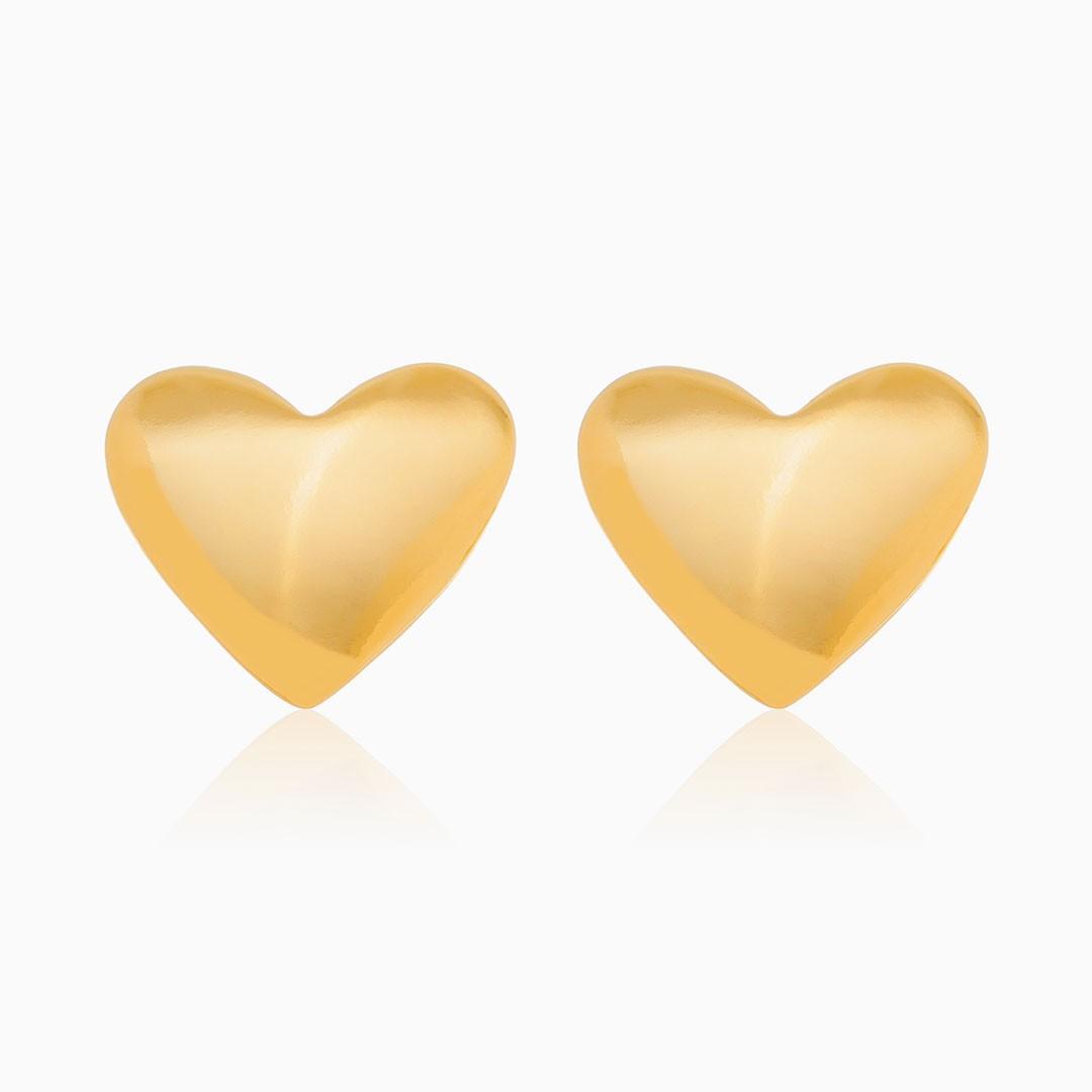 Brinco de coração banhado a ouro 18k