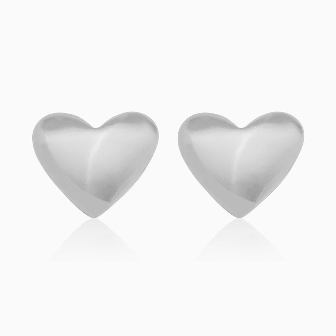 Brinco de coração banhado em ródio branco
