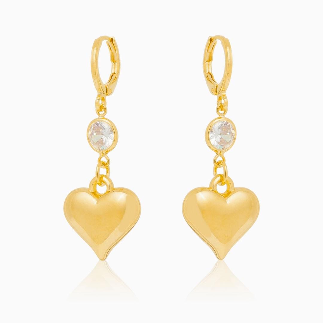 Brinco de coração com ponto de luz banhado a ouro 18k