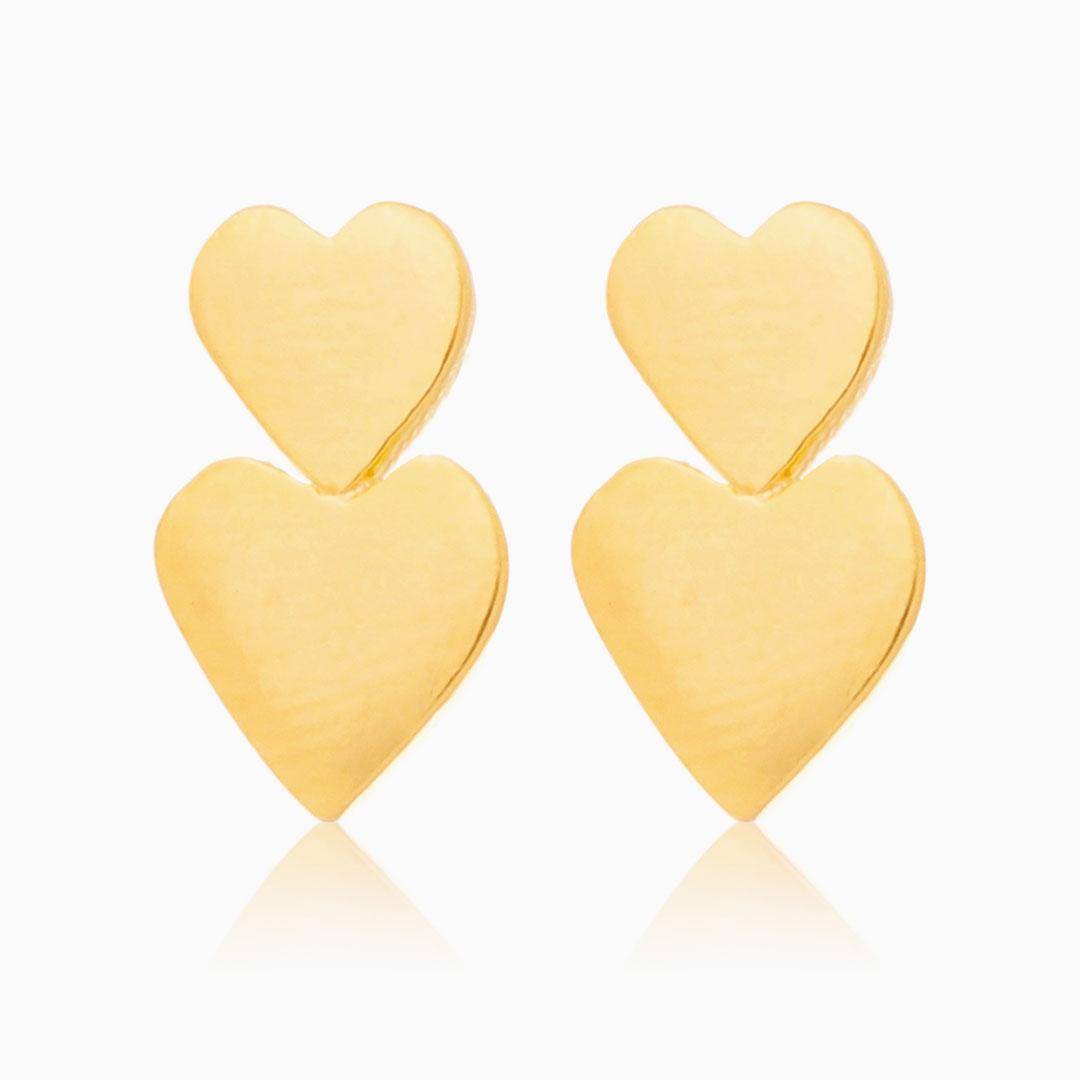 Brinco de coração duplo banhado a ouro 18k