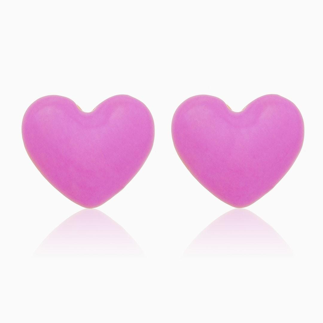 Brinco de coração esmaltado lilás