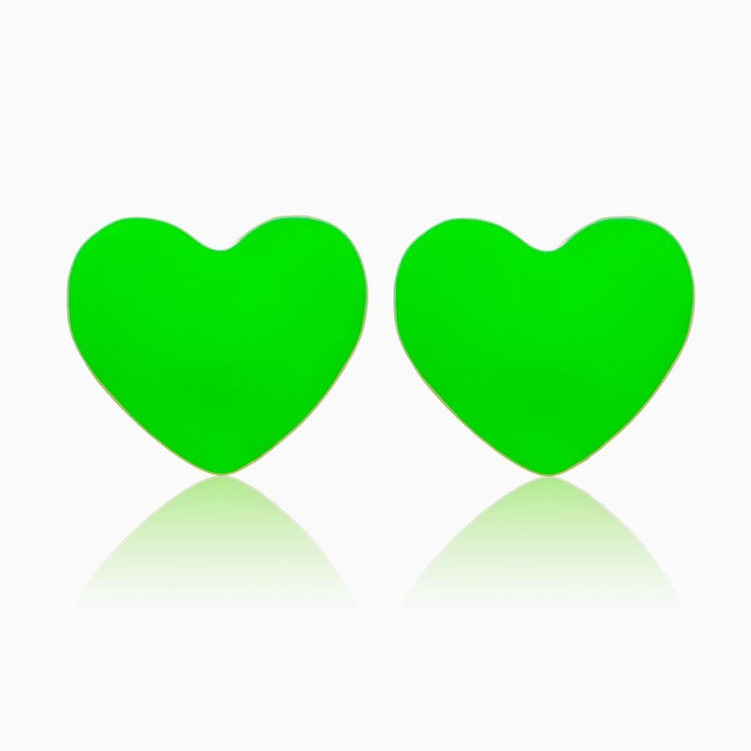 Brinco de coração esmaltado verde