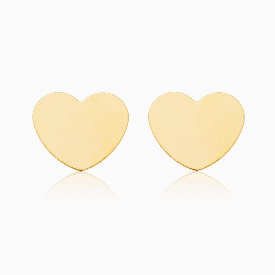 Brinco de coração liso banhado a ouro 18k