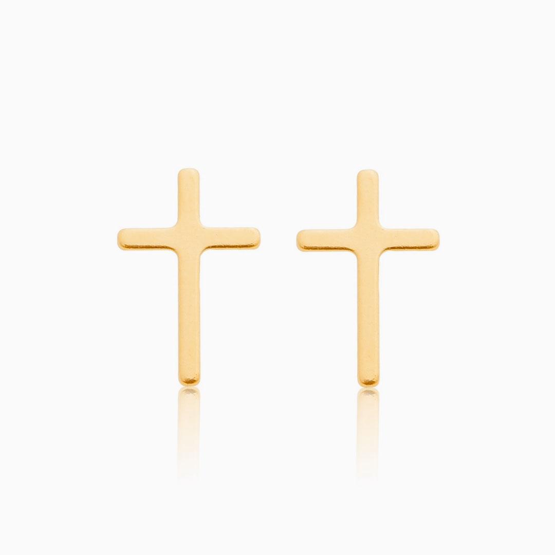 Brinco de cruz banhado a ouro 18k