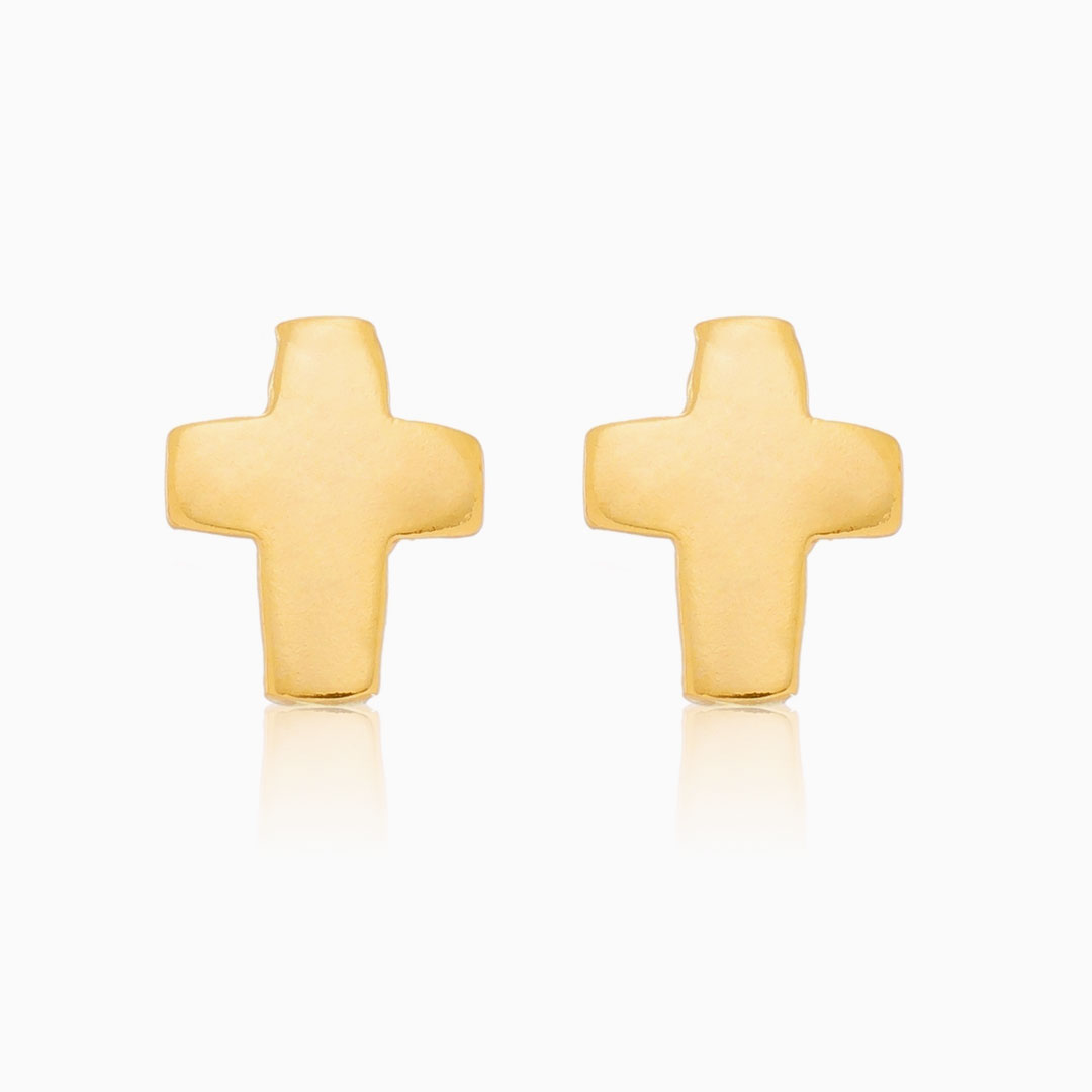 Brinco de cruz grande banhado a ouro 18k