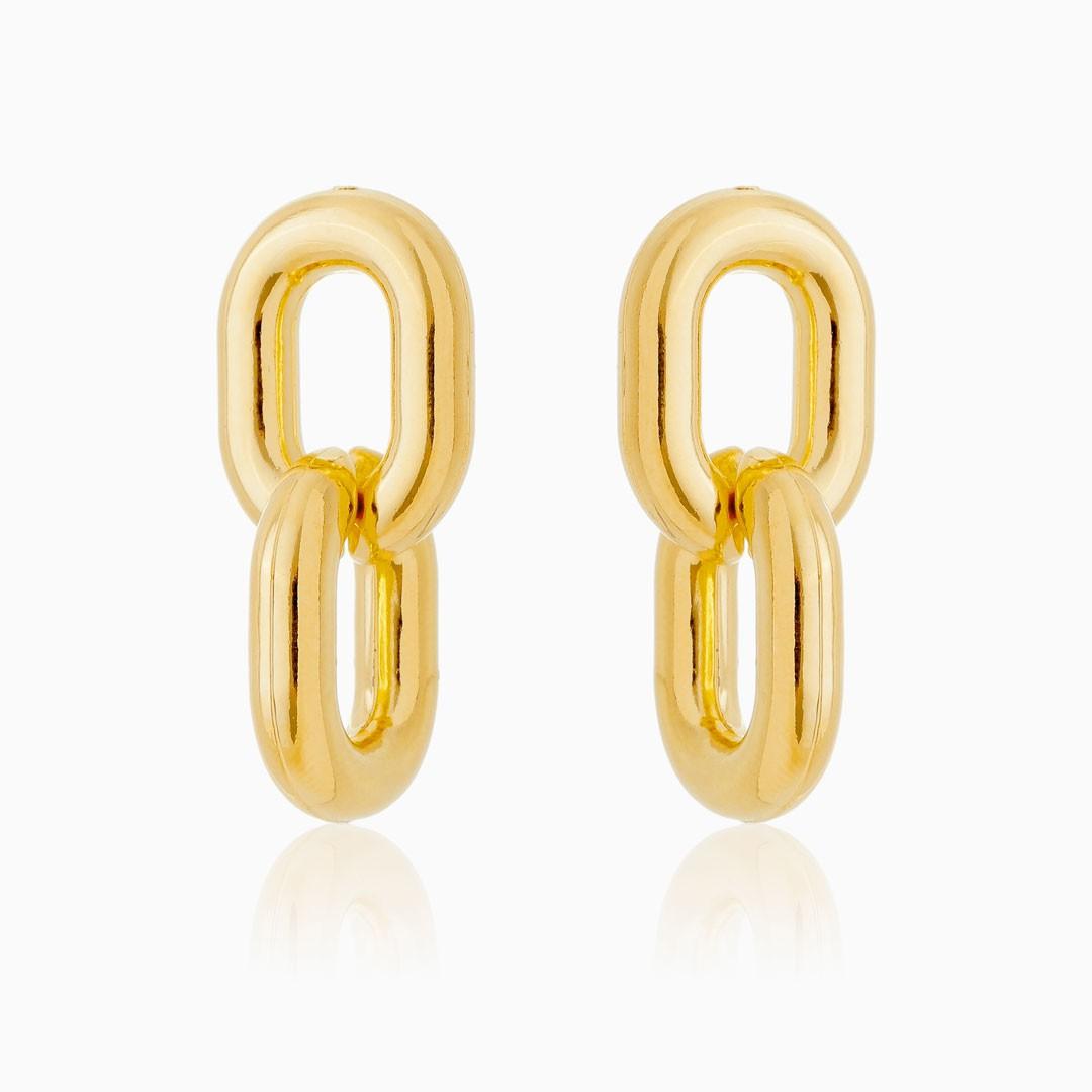 Brinco de elos duplos banhado a ouro 18k
