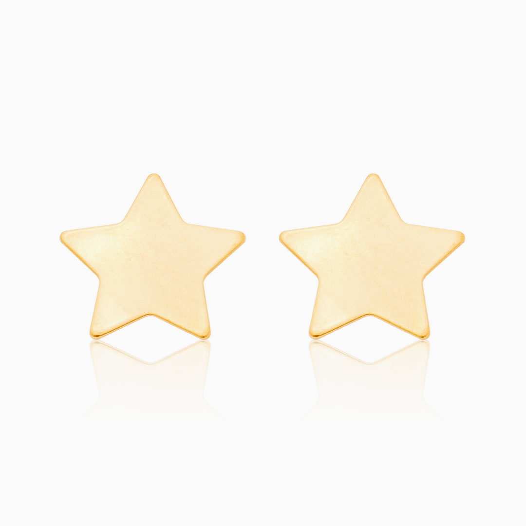 Brinco de estrela banhado a ouro 18k