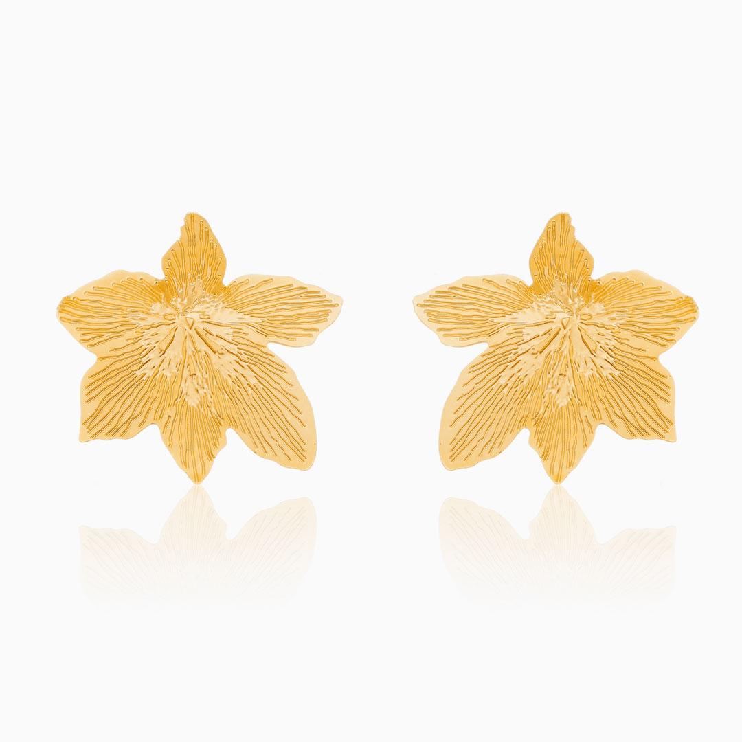 Brinco de flor Alissa banhado a ouro 18k