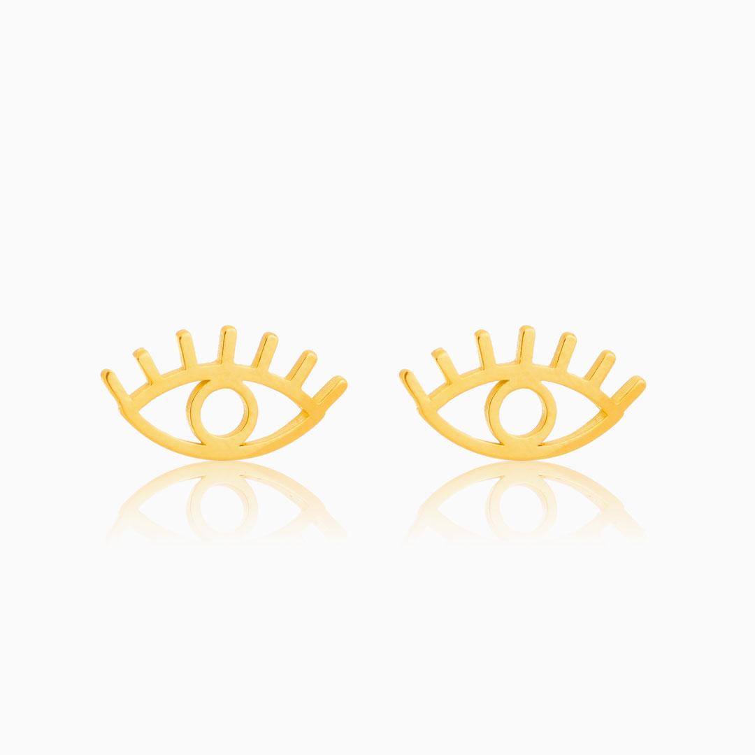 Brinco de olho grego vazado banhado a ouro 18k