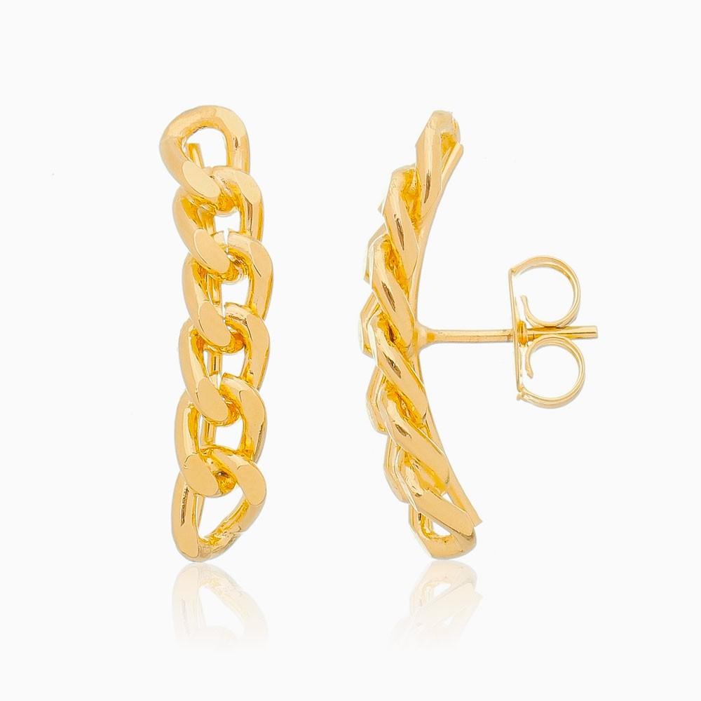 Brinco ear cuff correntes banhado a ouro 18k
